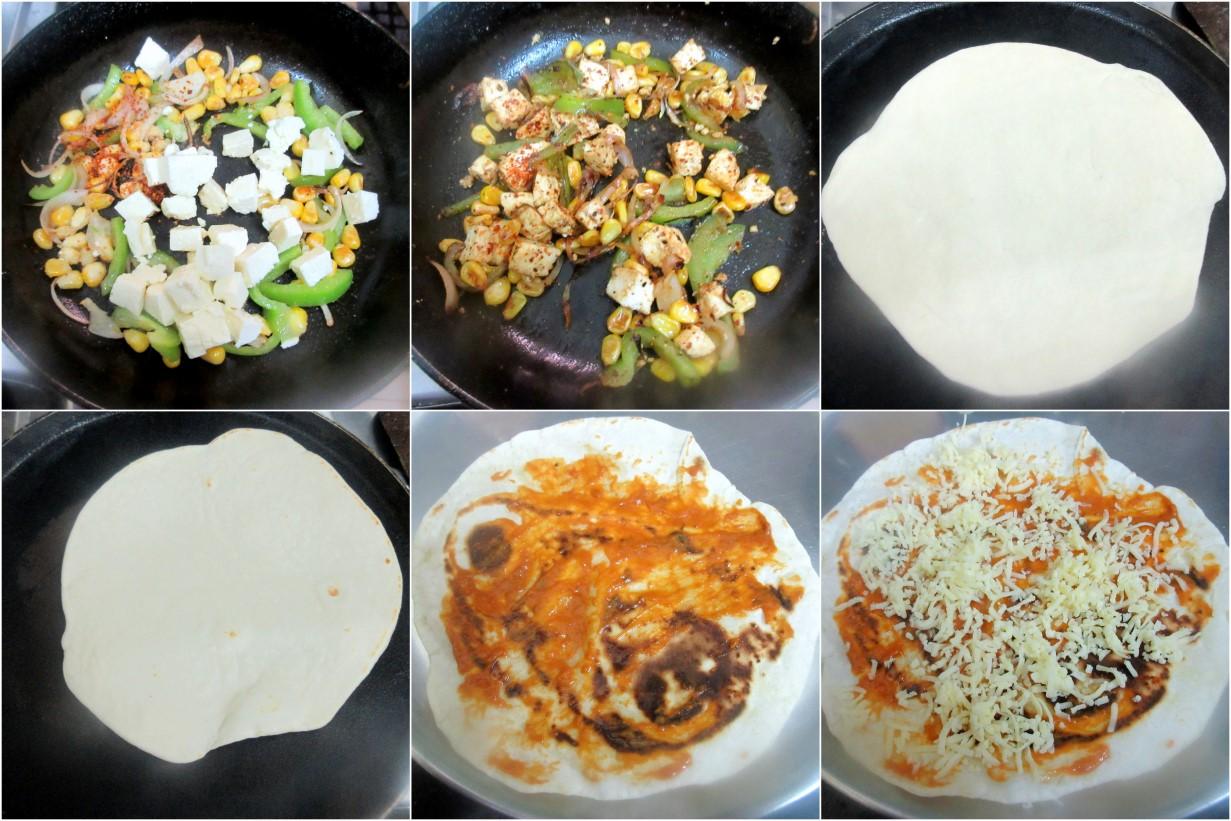 How to make Corn Capsicum Paneer Quesadilla 2