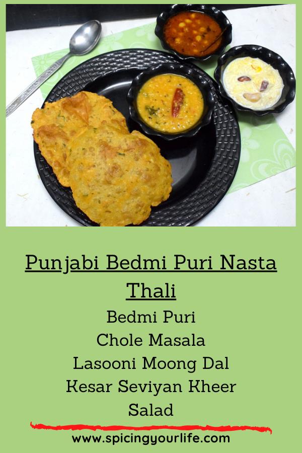 Punjabi Bedmi Puri Nasta Thali